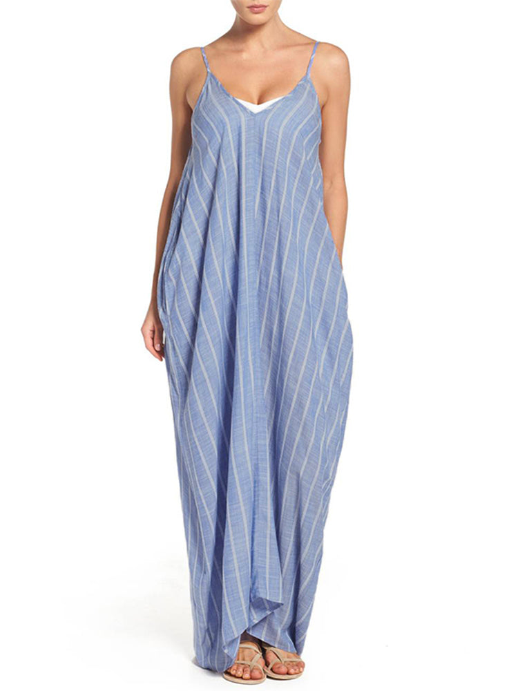 Women Strap Sleeveless Loose Striped Maxi Dress