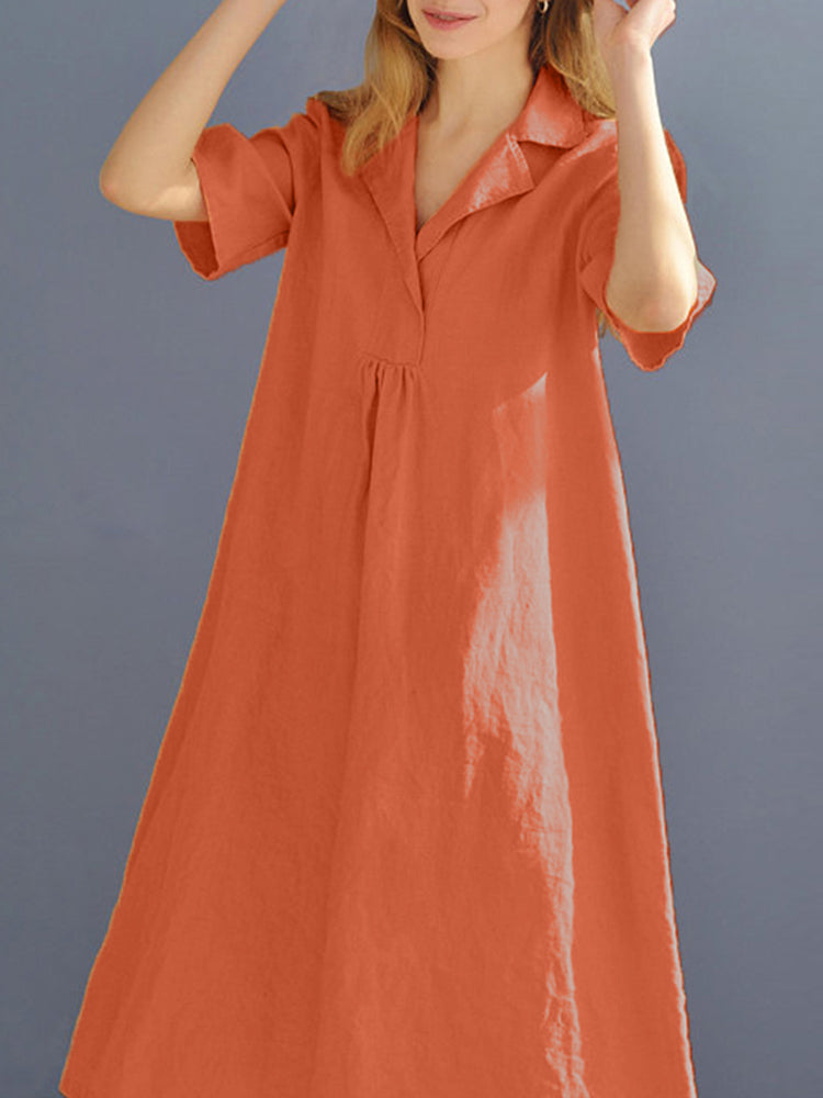 Women Cotton Loose Lapel Short Sleeve Dress