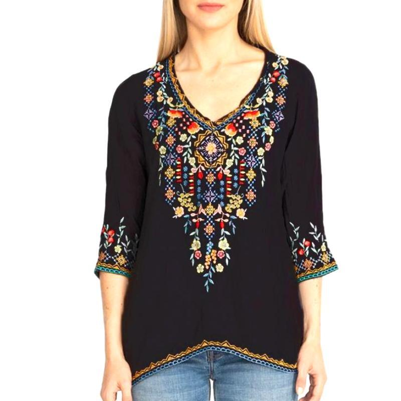 Private Garden Embroidered Tunic Tops In Vivid Colors -Size: 2x-Large, Color: Black