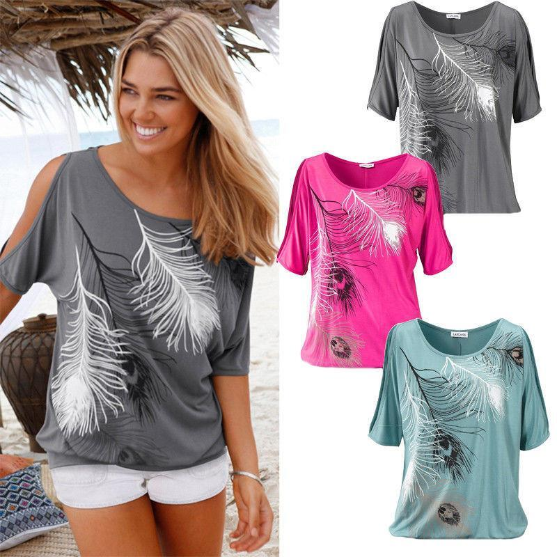 Wild And Free Peacock Feathered Tee -Color: Fuchsia, Size: Medium