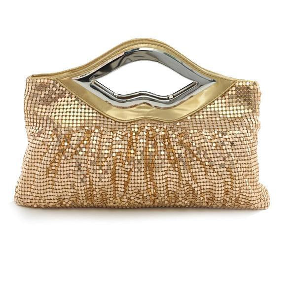Big Lips Banquet Clutch In 4 Shiny And Matt Colors - Style: BRONZE