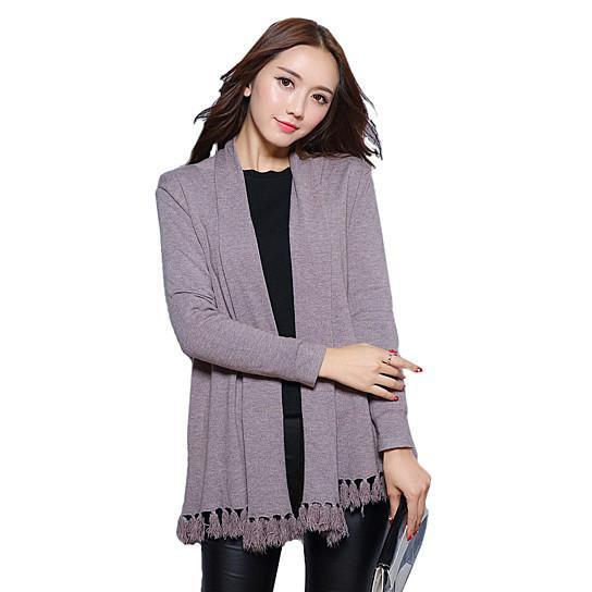 Cozy Cozy Cardigan Along With Tasseled Trim -Color: Fig Pink, Size: FREE SIZE  (S-M-L-XL)