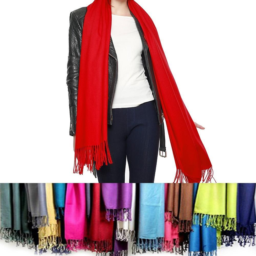 Privilege Pashmina Shawls With Fringe Benefits - Color: O - SILVER CLOUD
