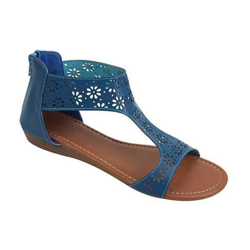 Crazy Daisies Summer Sandals -Color: Blue, Size: 7