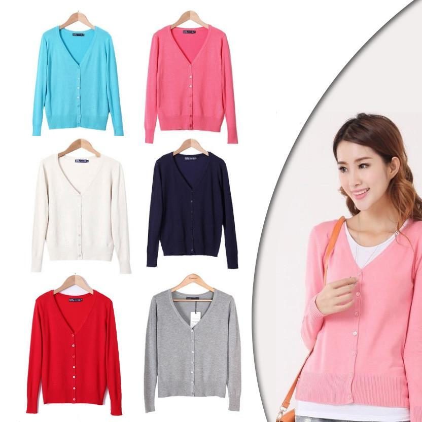 New Year Cardigans Long Sleeves Button Down Style -Size: Medium, Color: Coral