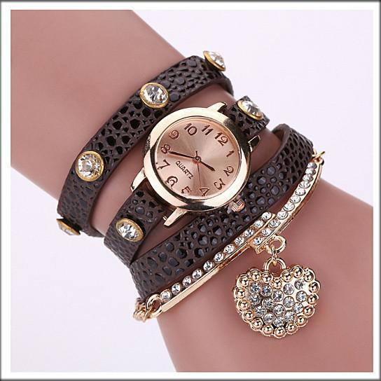 Heart On The Sleeve Bracelet Watch With Heart Charm In 10 Colors - Color: Brown Wood
