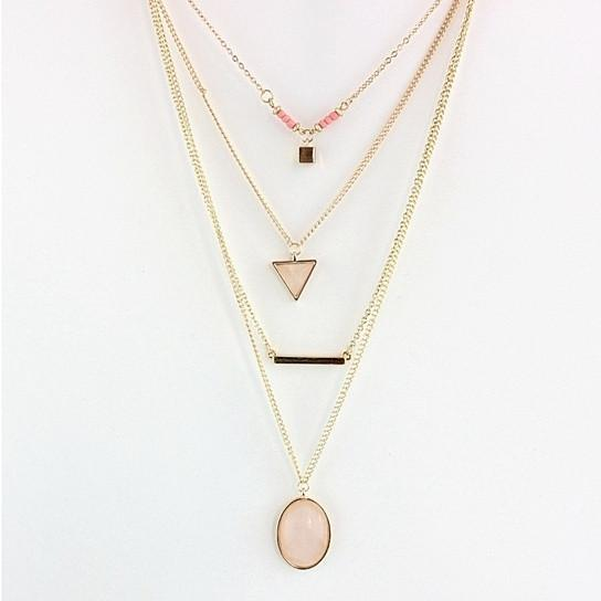 Oliva 4 Layered Necklace In Rose Quartz And Turquoise Stone - Style: Rose