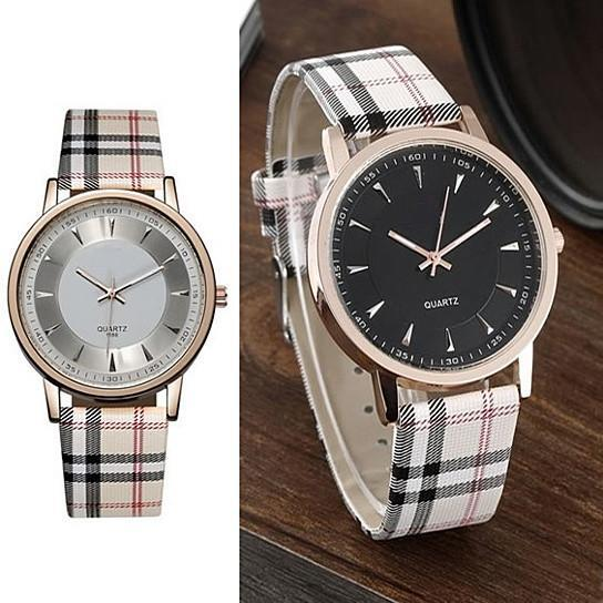 Londonite Watch With Plaid Band Time To Be Playful - Color: Pink-Gold