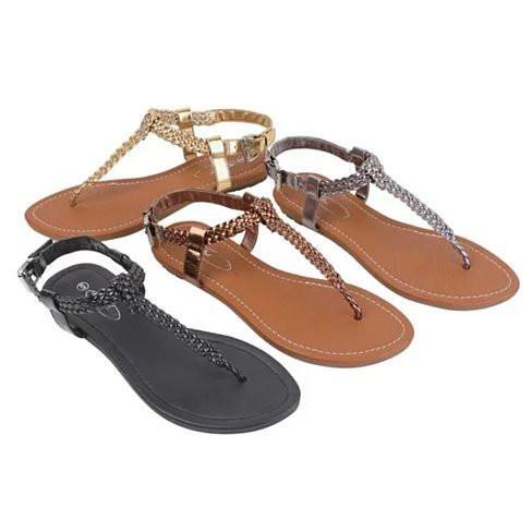 Greek Chic Knitted Sandals -Color: Gold Coin, Size: 9