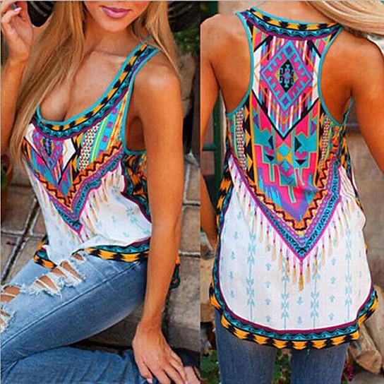 Azteca Tank Top In Colorful Vintage Print - Size: Large