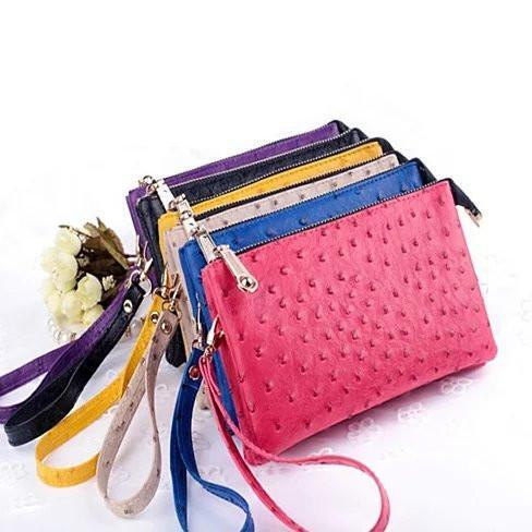 OMG OMG FAUX OSTRICH LEATHER PURSES - Color: Black