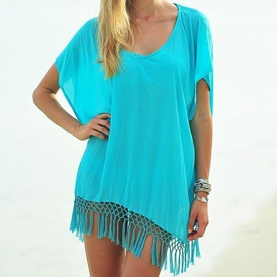 Mid-Summer Night Fringe Trim Tunic In 3 Colors From Summery Collection -Color: White, Size: Free Size