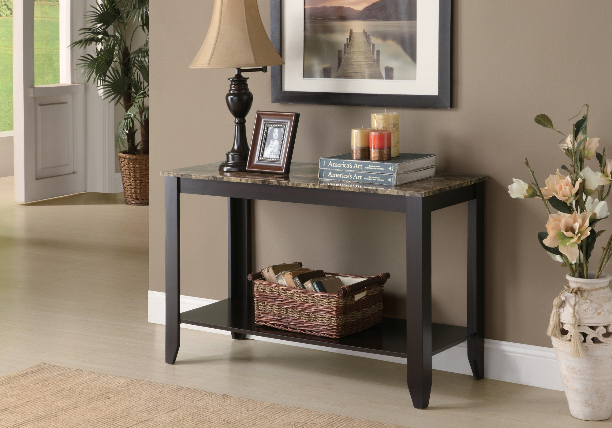 "28.75"" Cappuccino Particle Board Accent Table with"