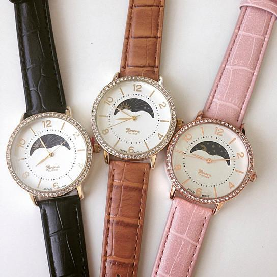 Sun Phase Fashion Watch With Crystals - Color: White