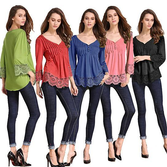 Explora Tops In Pretty Pintucks And Breezy Lace Details -Blouse Color: COASTAL BLUE, Size: SMALL