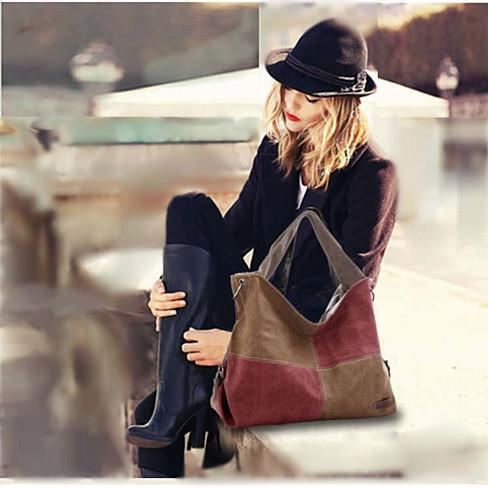 Fair and Square Two Tone Journey Canvas Shoulder Bag - Color: Wine And Coffee