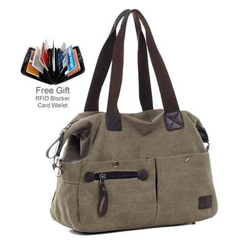 The Uptown Journey Canvas Hand Bag With FREE RFID BLOCKER WALLET - Color: Khaki City
