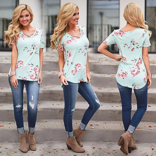 Beautiful Blooms Top In 5 Colors -Size: 2XLarge, Color: GARDEN GREEN
