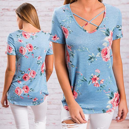 Floral Short Sleeve Top with Cutout Neckline in 5 Colors -Size: Small, Color: Sweet Pink
