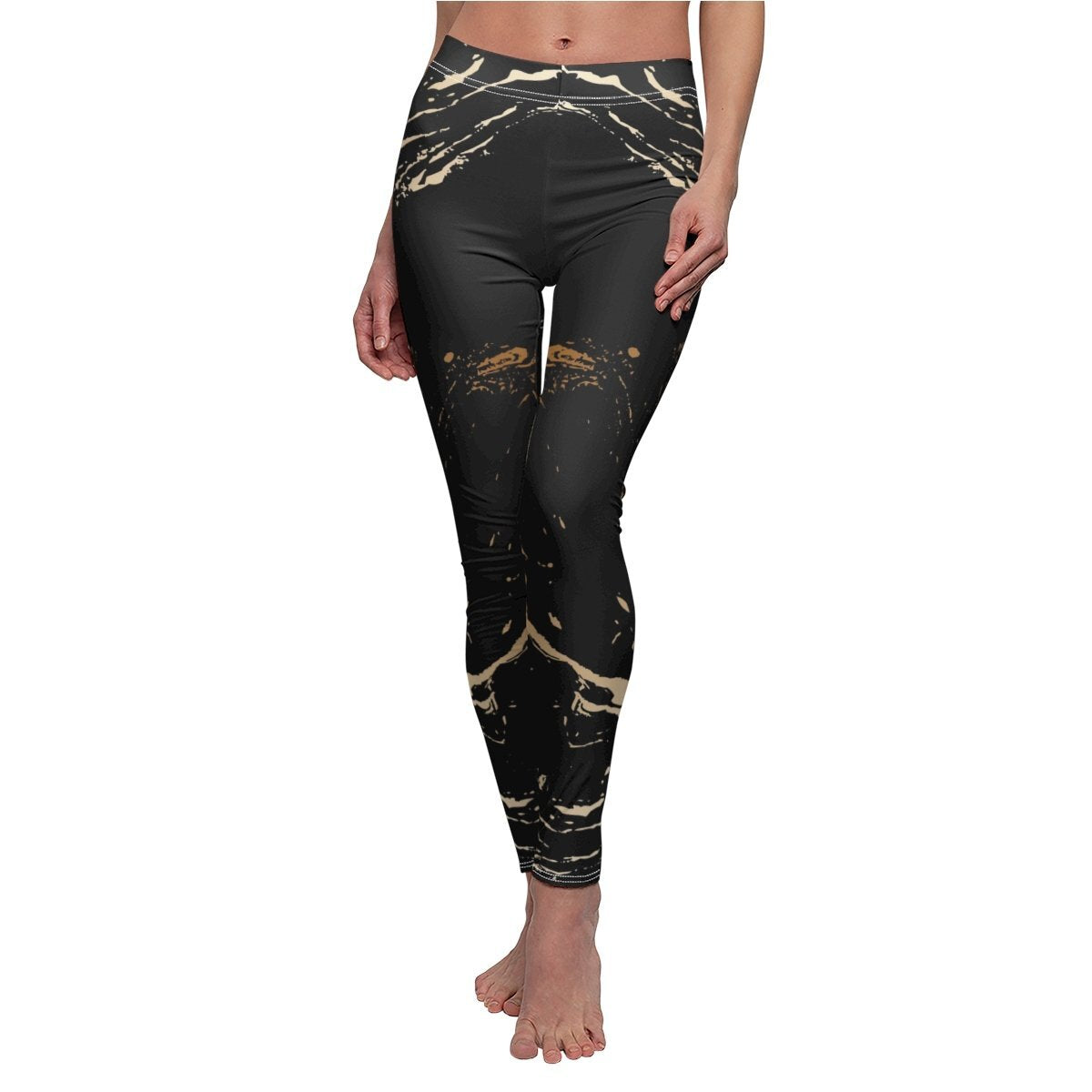 High Waisted Yoga Pants, Black and Gold Swirl Style Sports Pants
