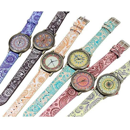 Pretty Patterns Watch With Henna Style Belt And Mandala Dial - Style: Purple
