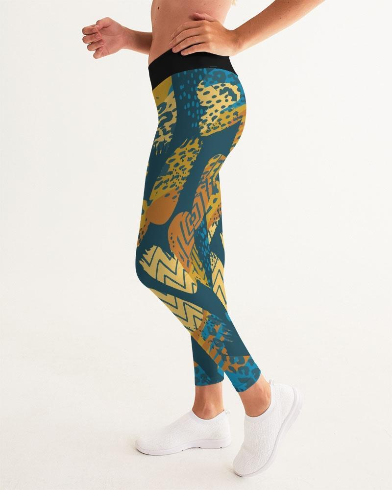 Womens Leggings, Blue and Gold Multiprint Style Athletic Pants