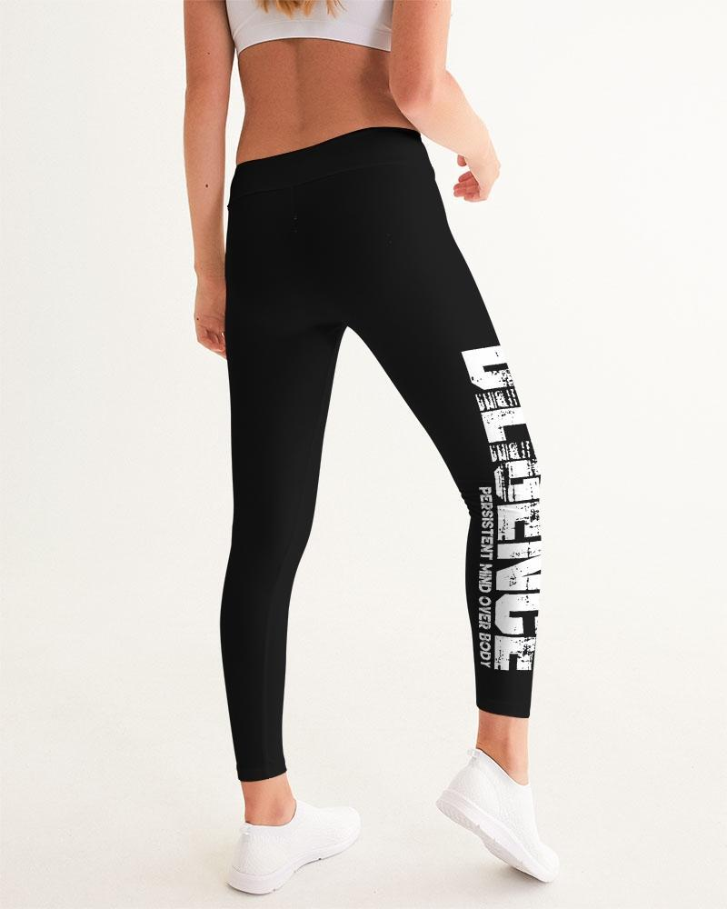 Womens Leggings, Bold Diligence Graphic Style Black and White Fitness Pants