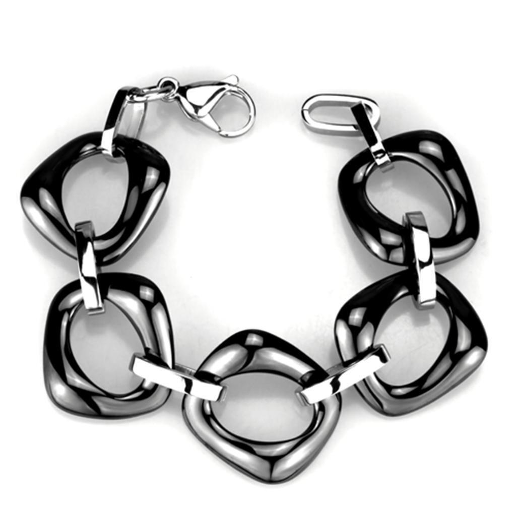 High Polished Stainless Steel Bracelet With Ceramic In Jet 8""