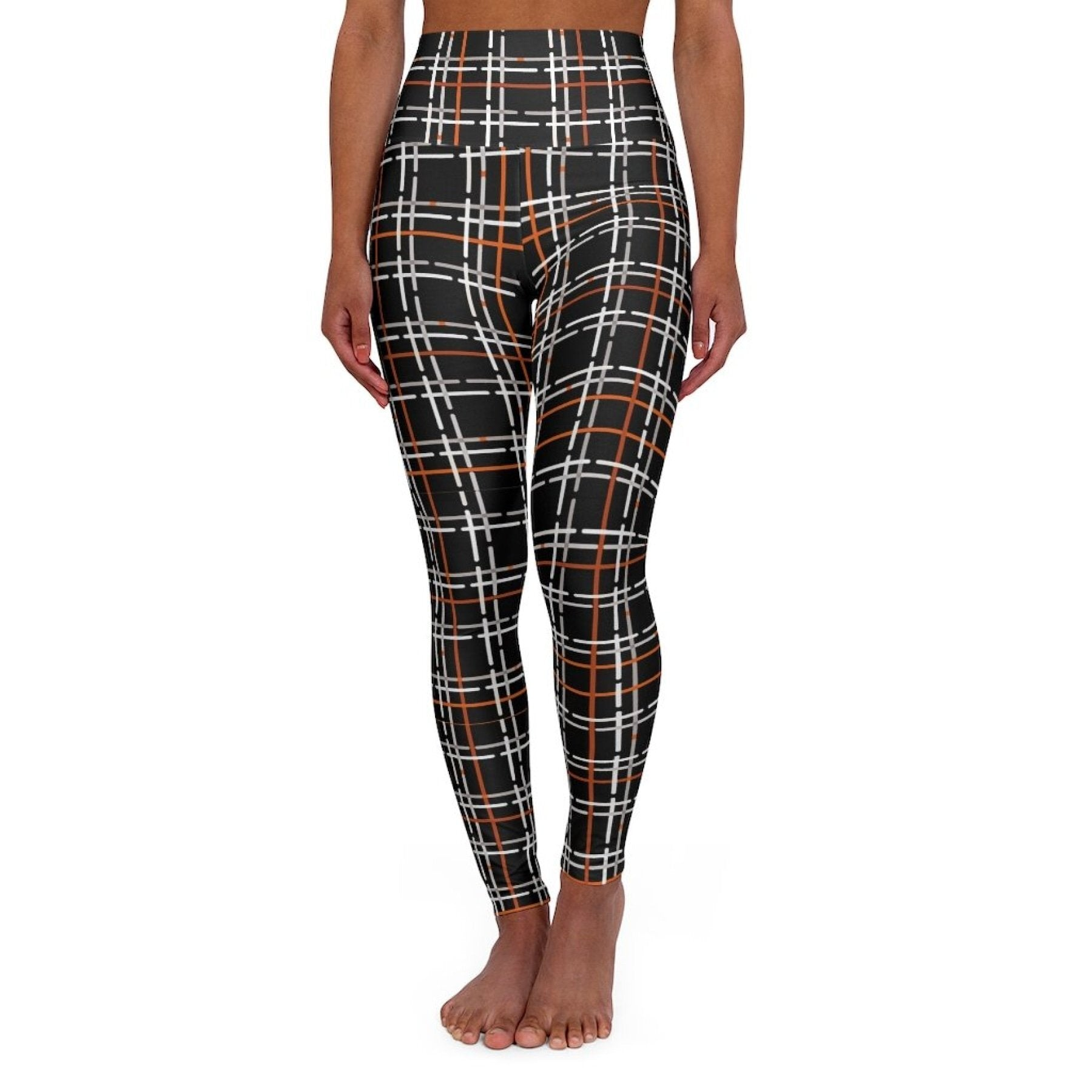 High Waisted Yoga Leggings, Black and Orange Tartan Style Pants