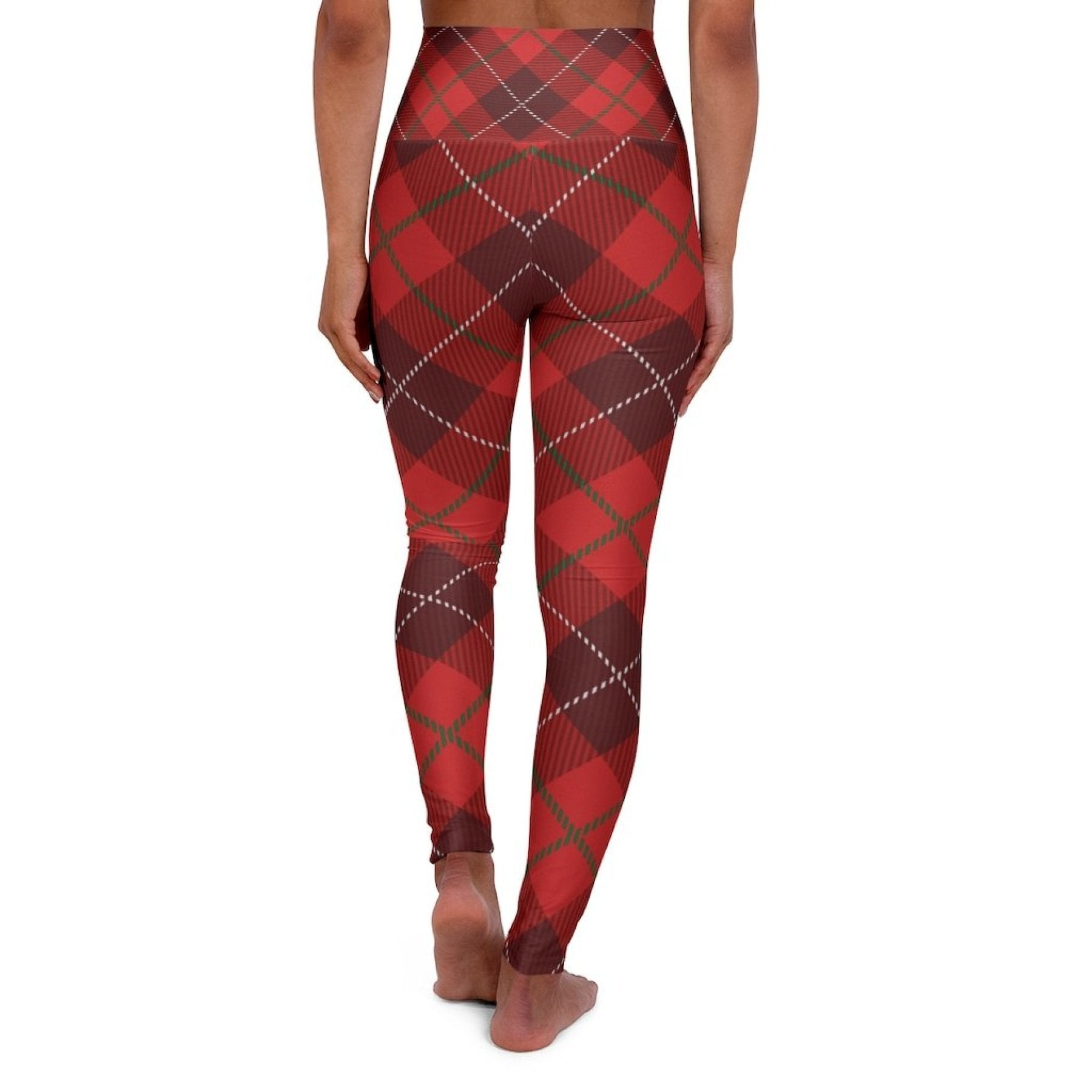Womens Leggings, Red Plaid Style High Waisted Fitness Pants