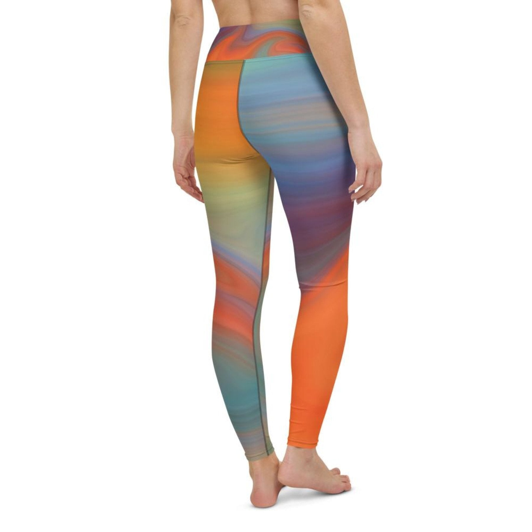 Womens Athletic Pants, Orange Swirl Black Seam Style High Waist Yoga Leggings
