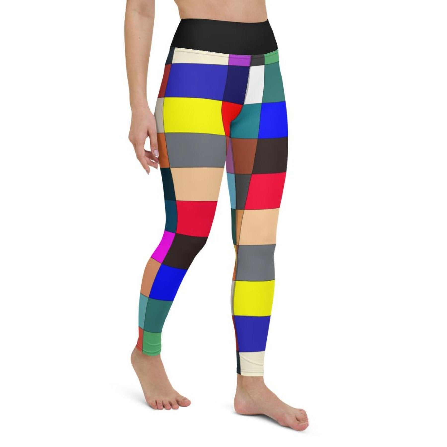Womens Athletic Pants, Multicolor Block Black High Waist Style Yoga Leggings