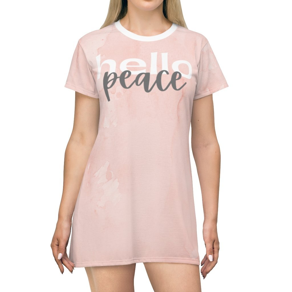 Womens Dresses, Peach Marble Hello Peace Graphic style T-Shirt Dress