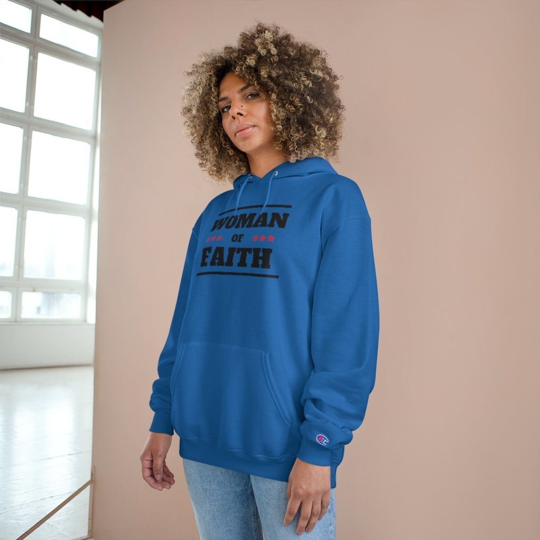 Womens Hoodies, Woman of Faith Graphic Style Hooded Shirt