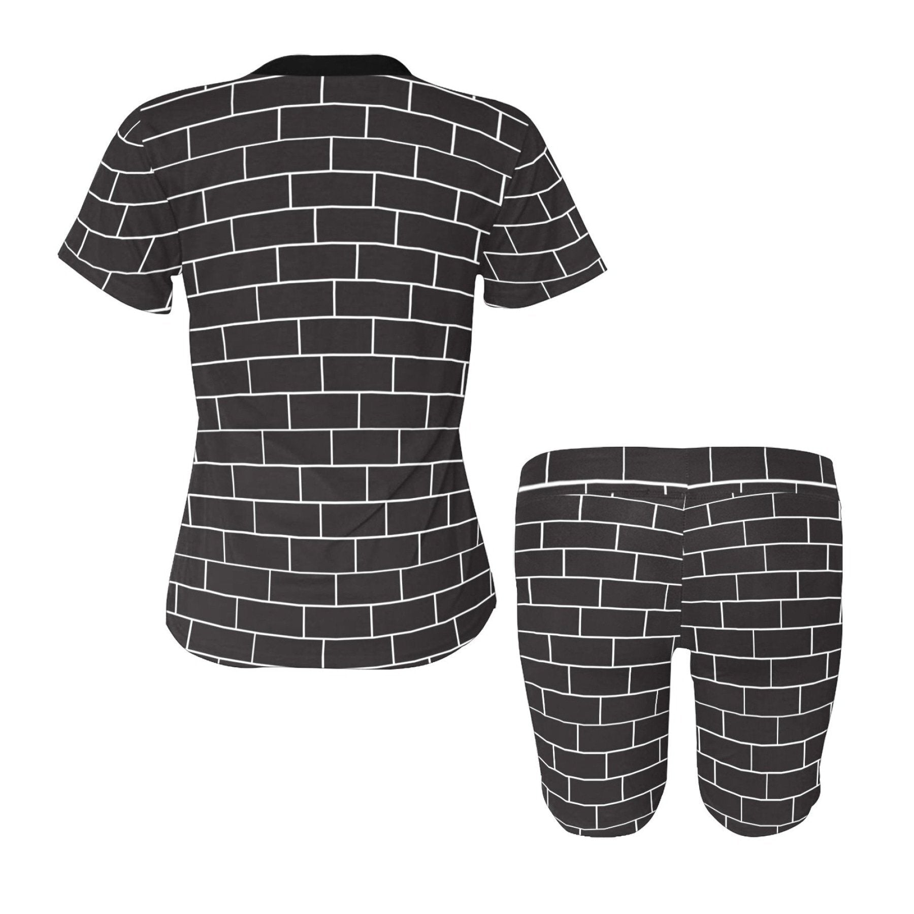 Womens Outfits, Black and White Block Brick Style Womens Short Yoga Set