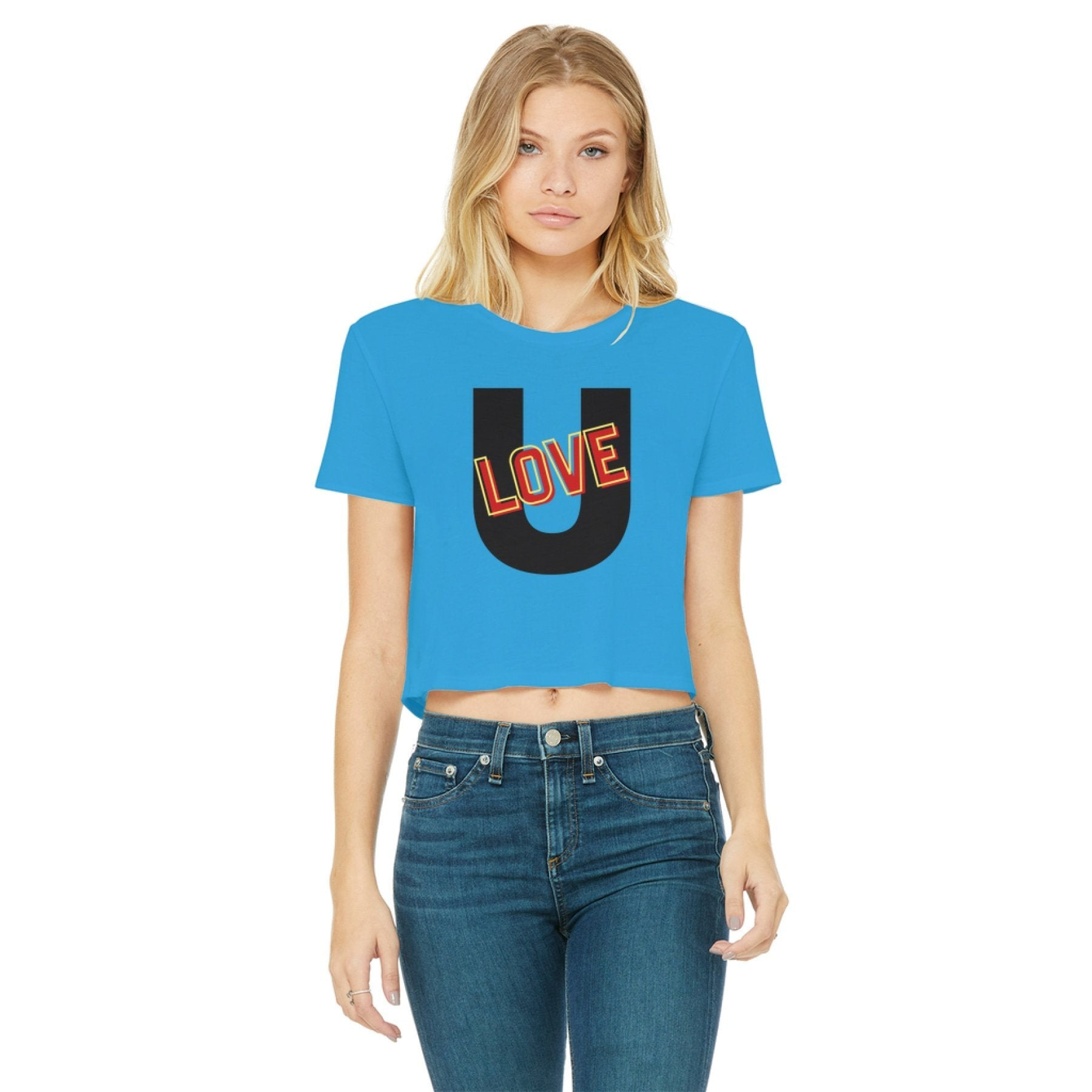 Love U Graphic Style Womens Classic Cropped Raw Edge T-Shirt