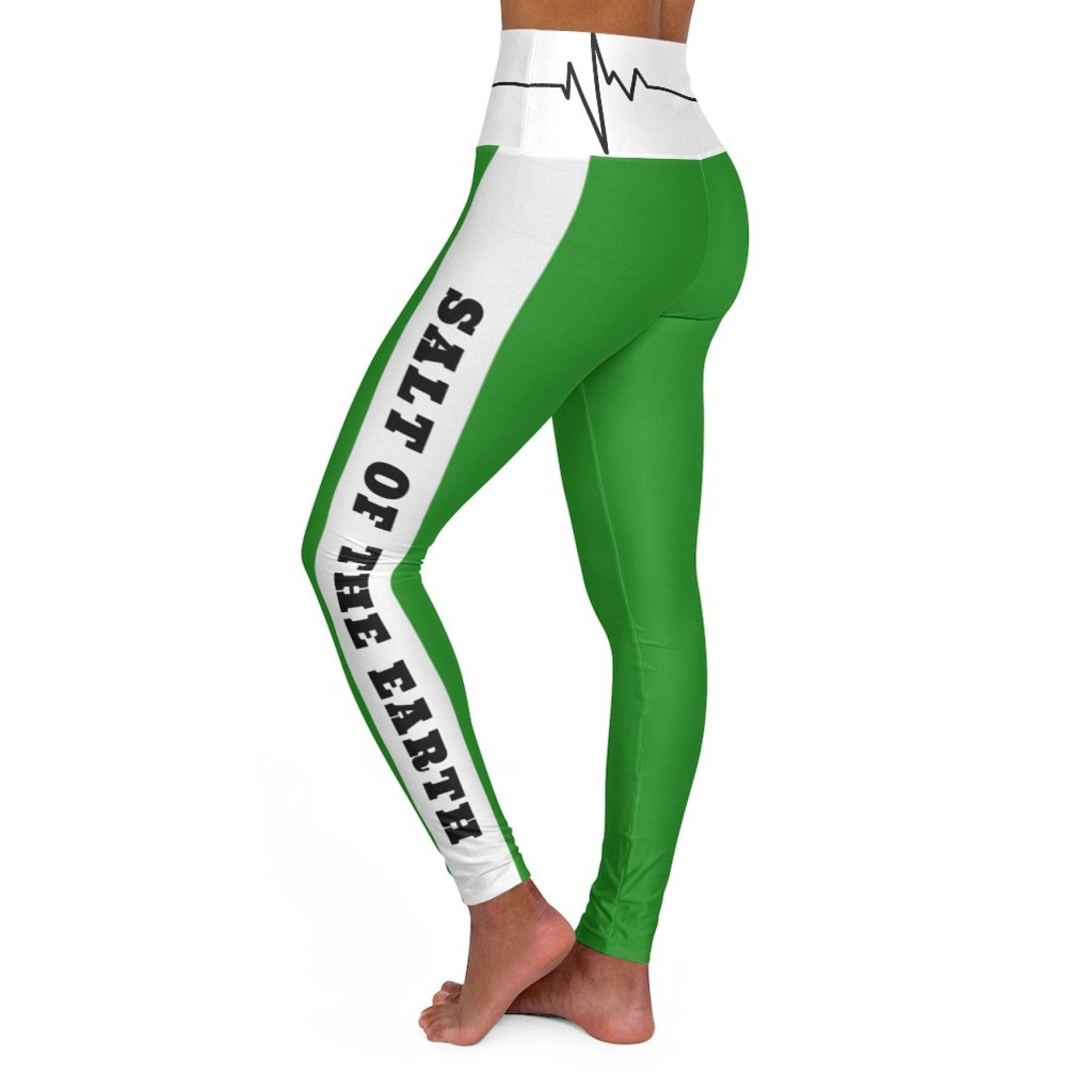 High Waisted Yoga Leggings, Forest Green Salt of the Earth Matthew 5:13 Beating Heart Sports Pants
