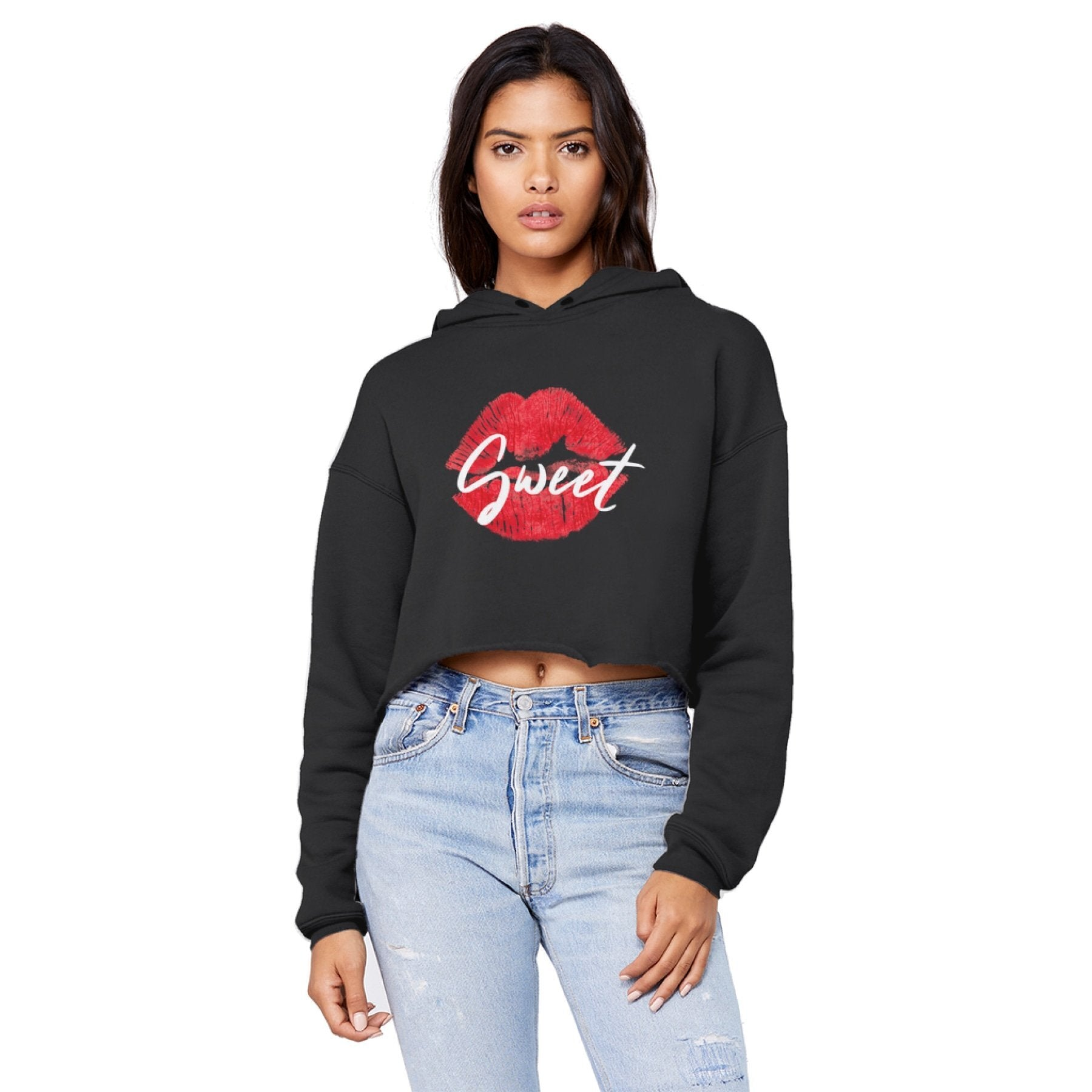 Sweet Kiss Red Lipstick Style Raw Edge Cropped Hooded Shirt