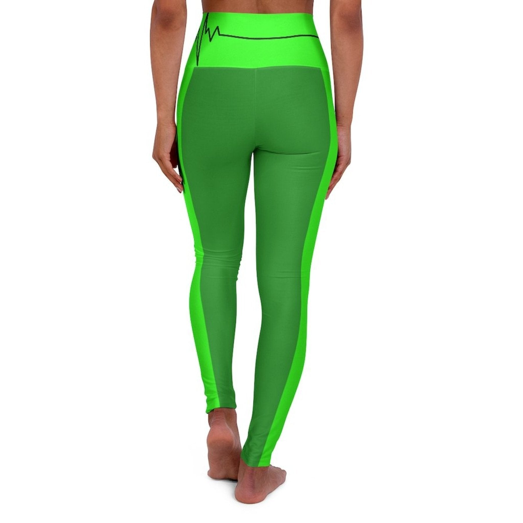 High Waisted Yoga Leggings, Forest Green and Neon Green Black Bordered Beating Heart Sports Pants