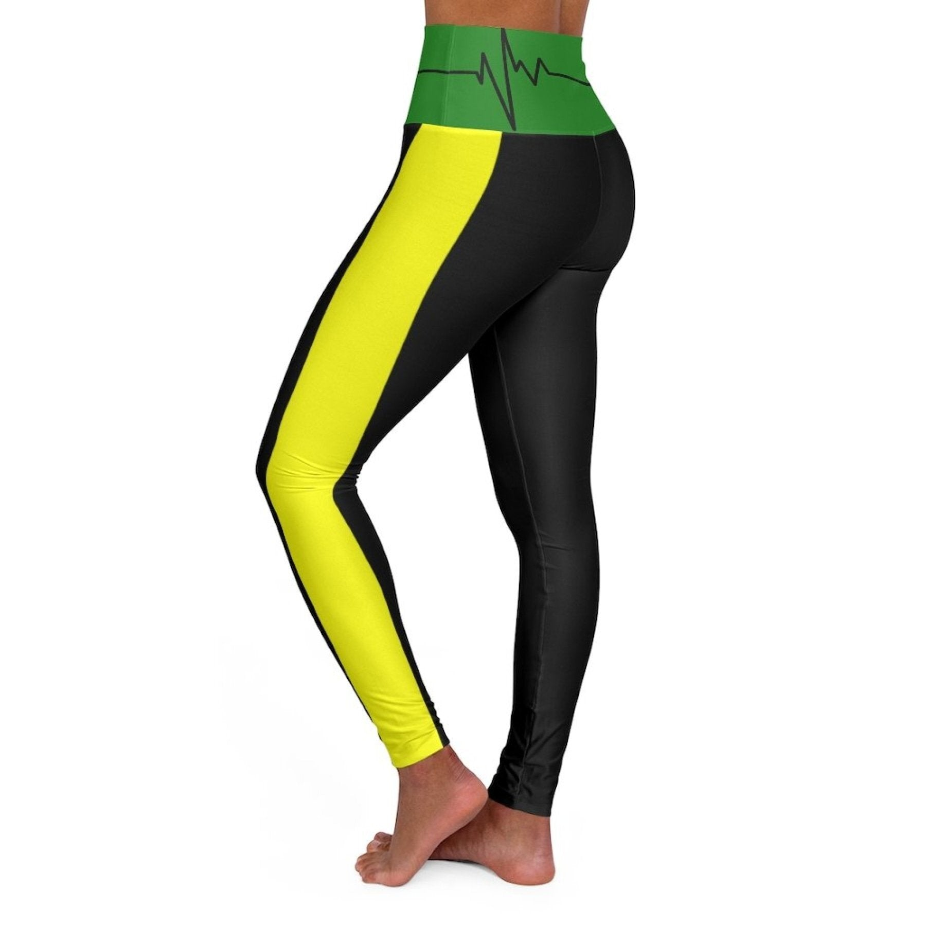 High Waisted Yoga Leggings, Black Red Yellow and Green Beating Heart Sports Pants