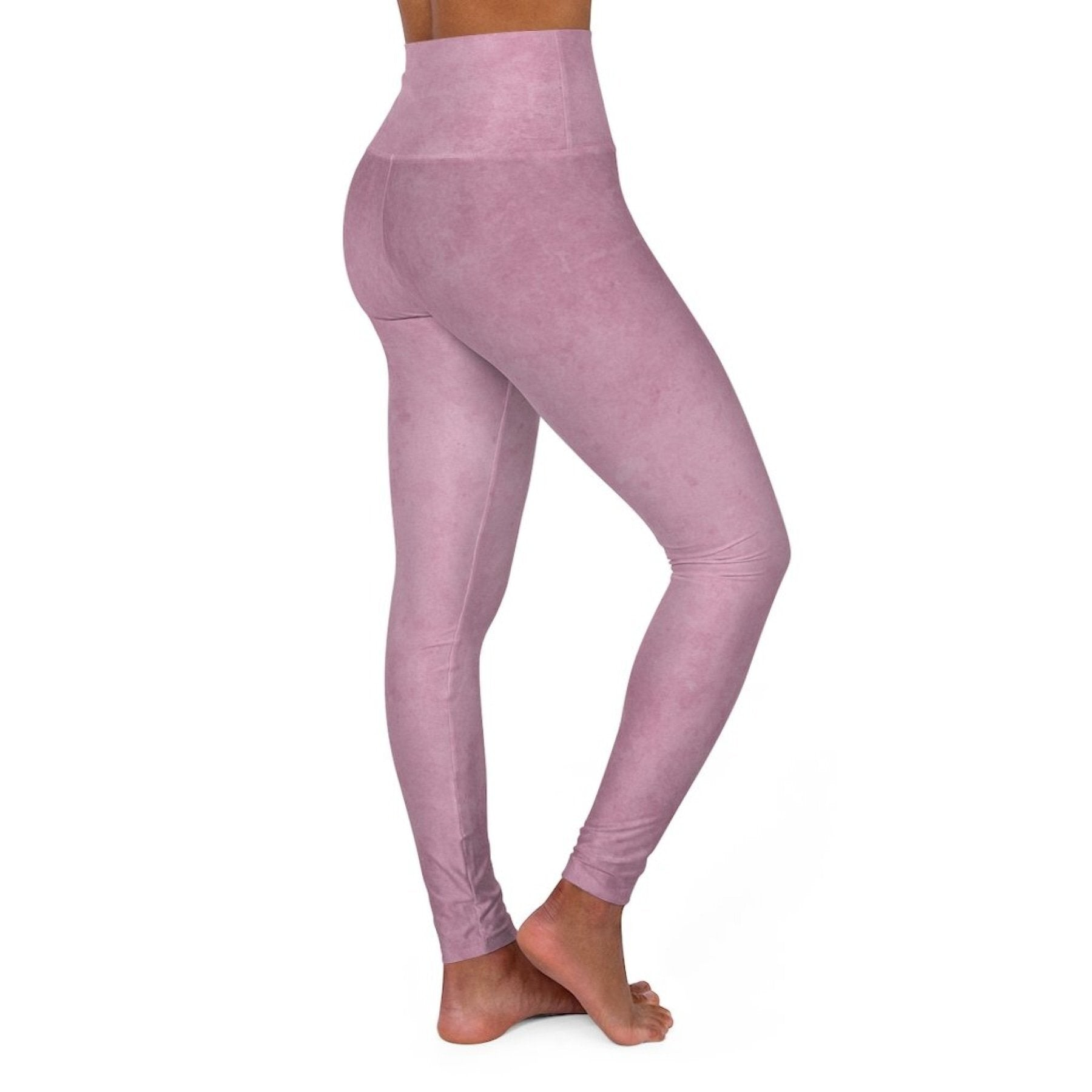 High Waisted Yoga Leggings, Heather Pink Pants