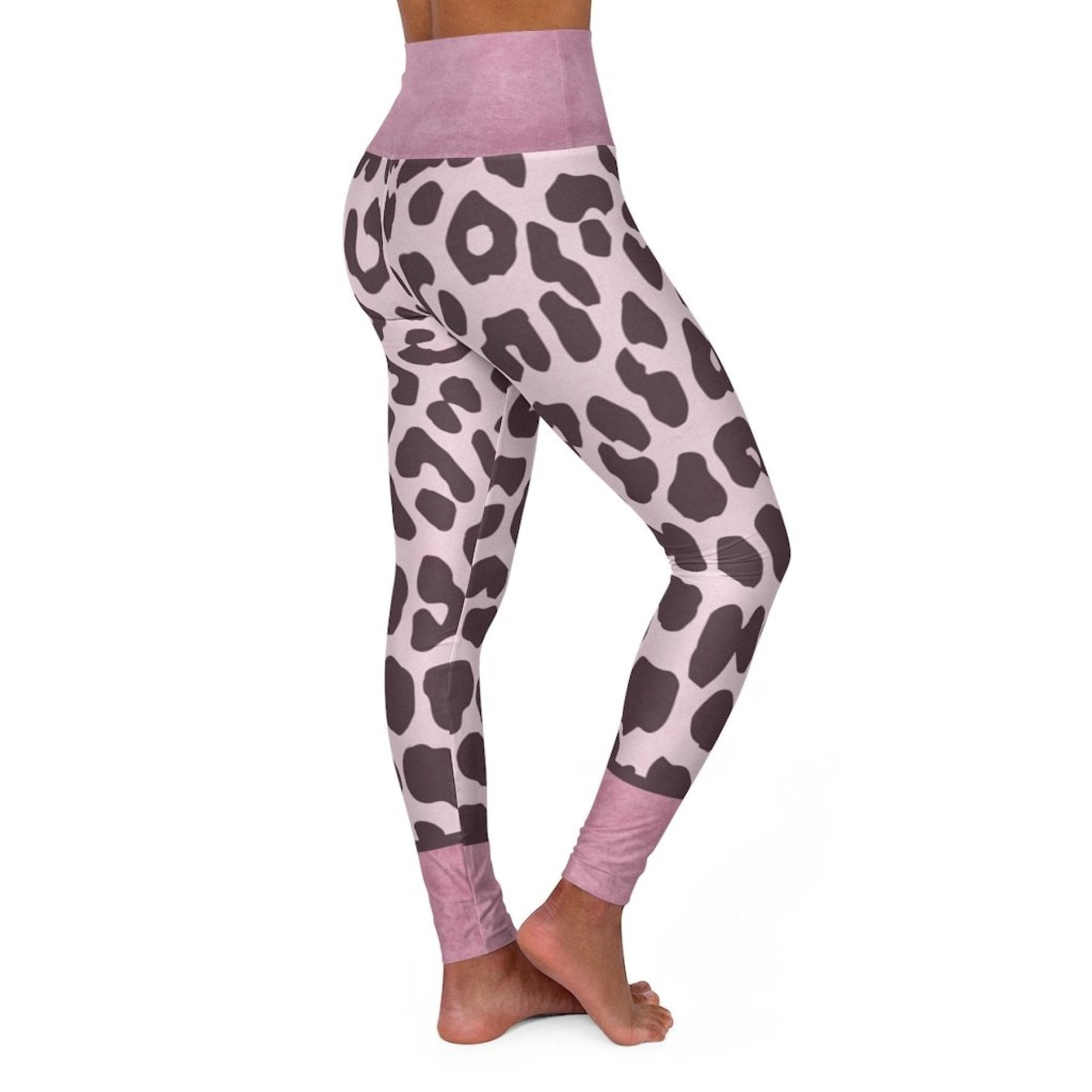 High Waisted Yoga Leggings, Heather Pink Two Tone Leopard Style Pants