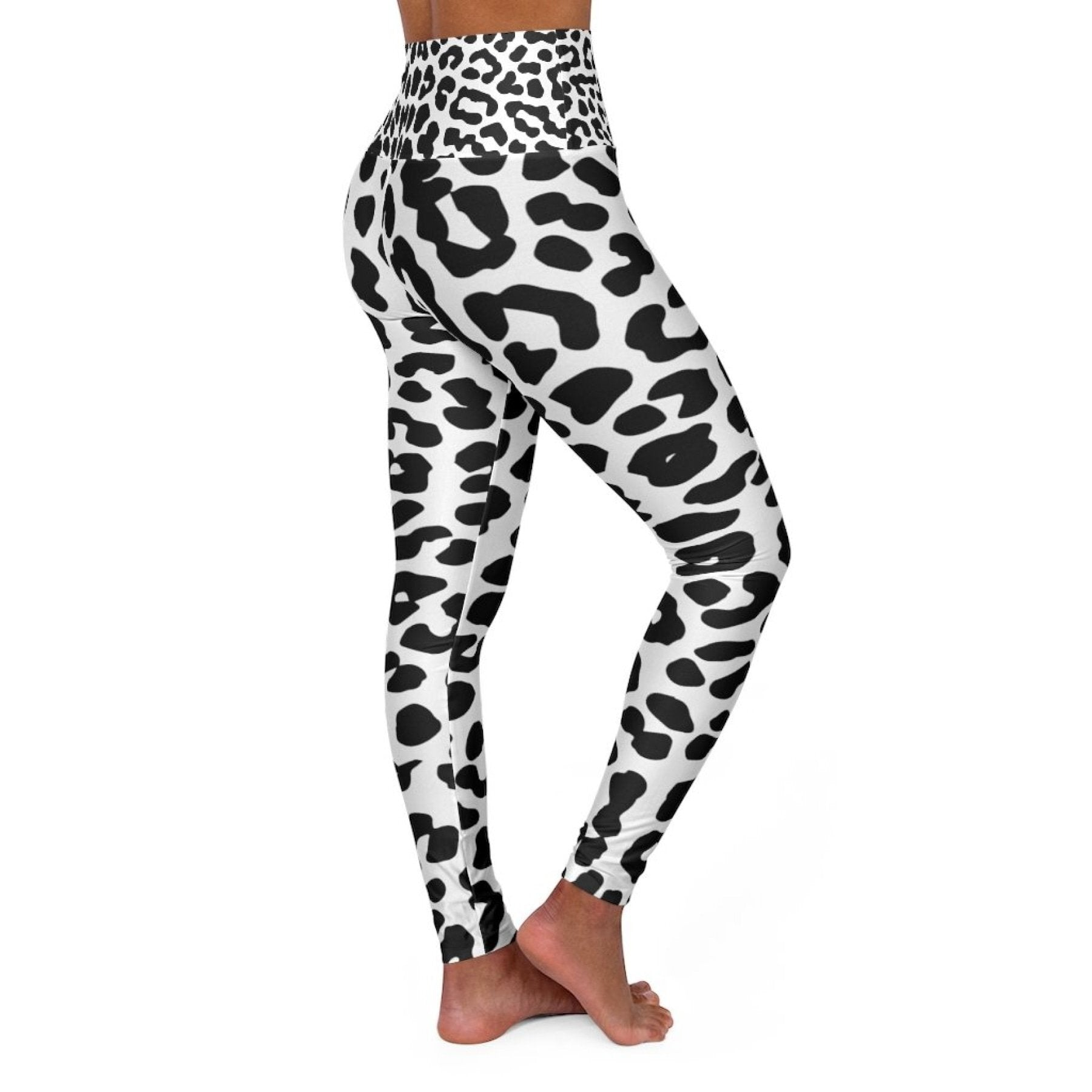 High Waisted Yoga Leggings, Black and White Leopard Style Pants