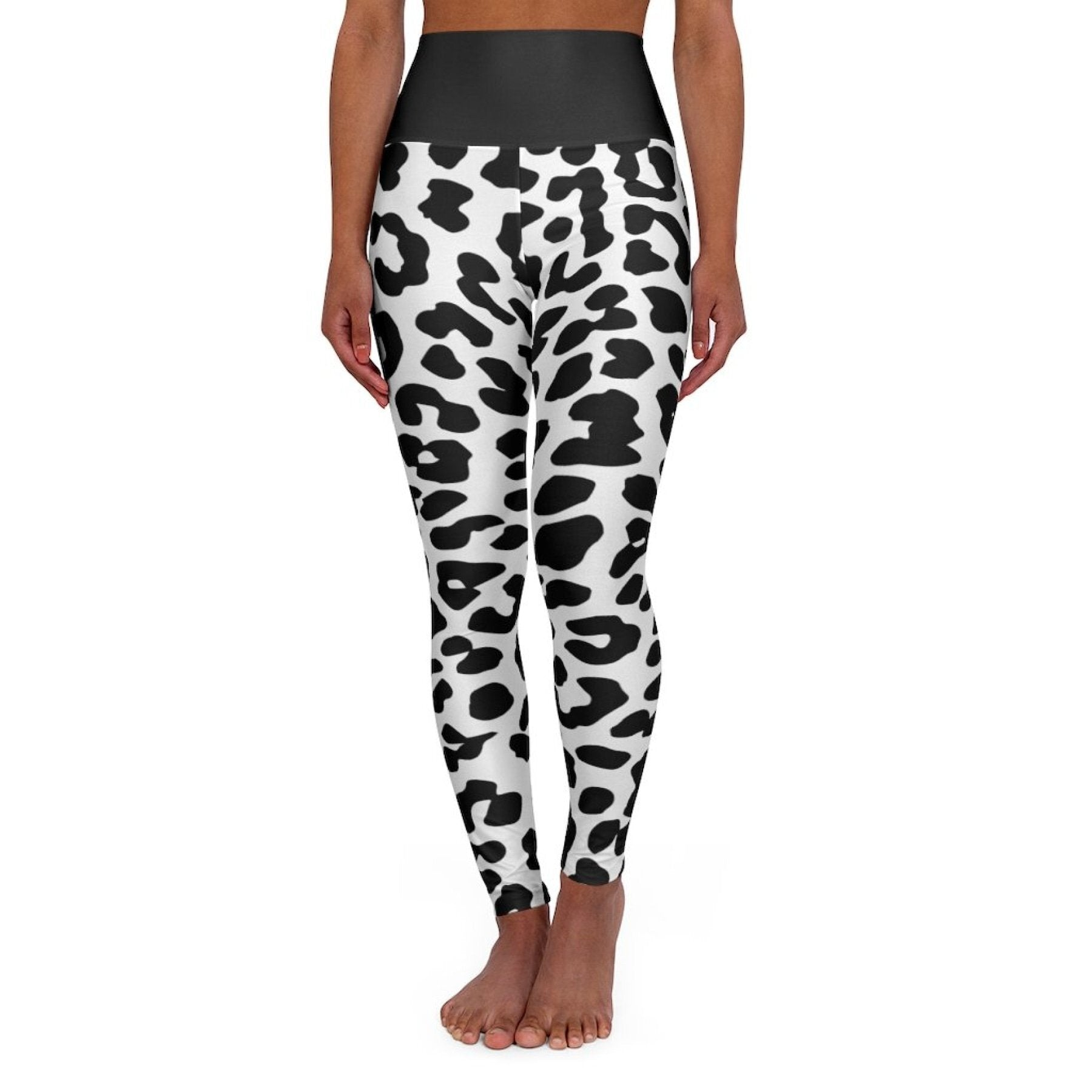 High Waisted Yoga Leggings, Black and White Two-Tone Leopard Style Pants