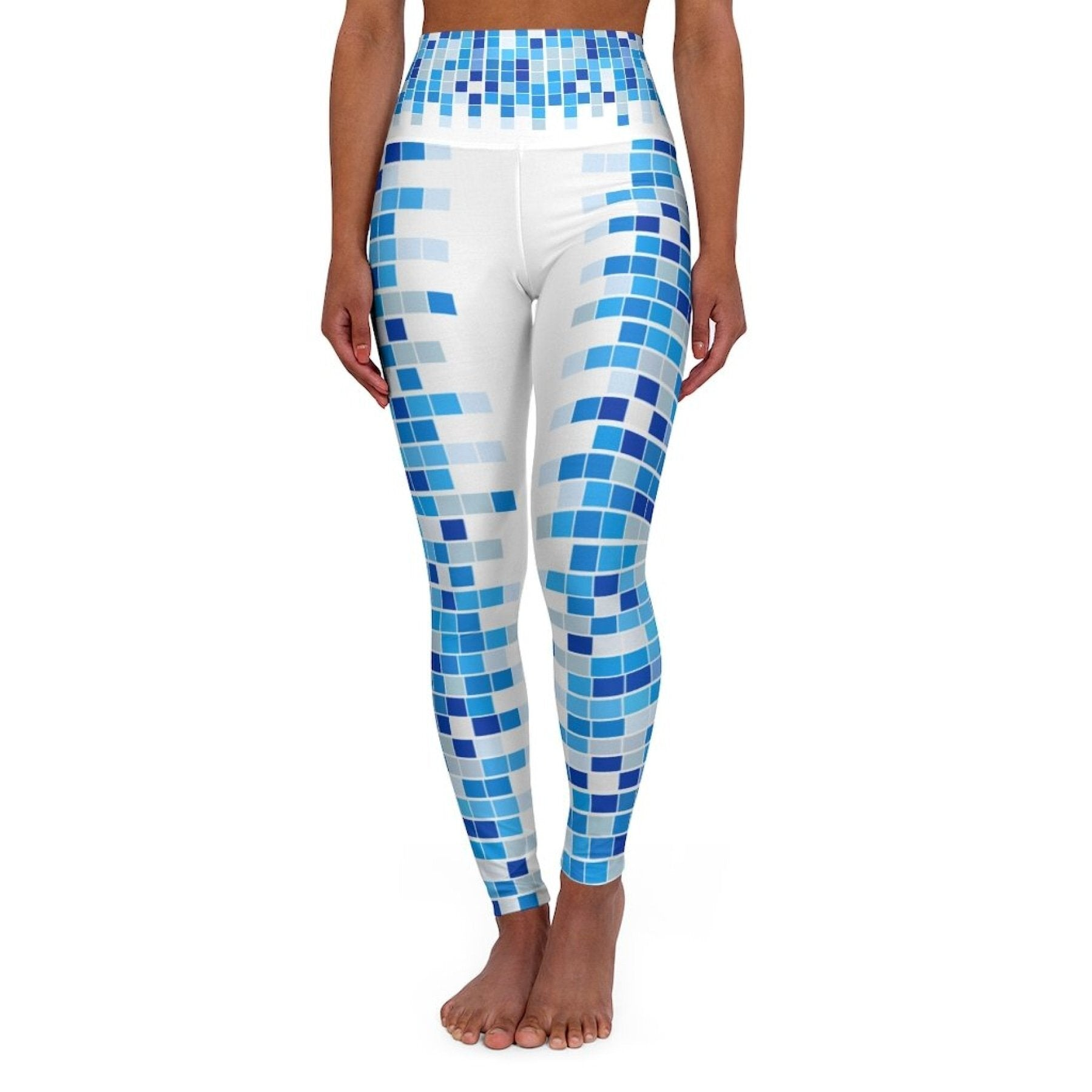 High Waisted Yoga Leggings, Blue and White Mosaic Square Style Pants