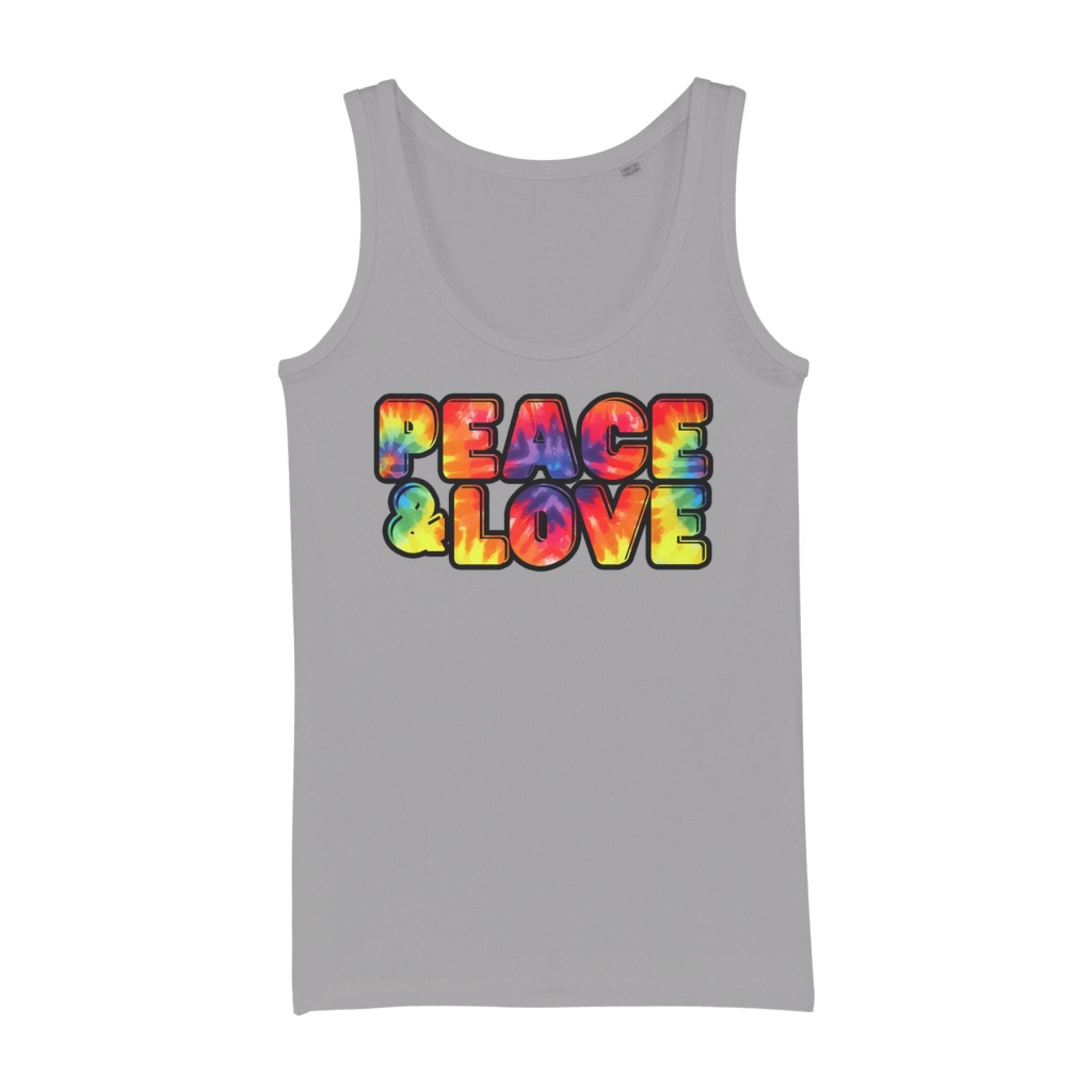 Peace & Love Graphic Style Organic Jersey Womens Tank Top