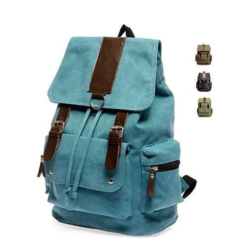 Back to Campus Canvas Backpack - 4 Colors! - Color: Denim Blue