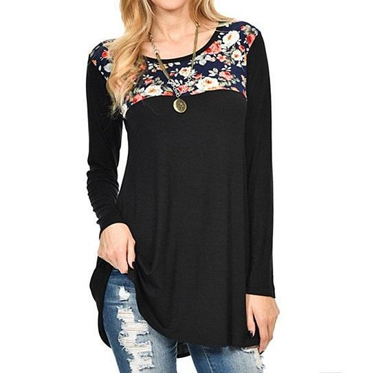 Floral Gal Flowery Tunic -Size: Small, Color: Beautiful Black