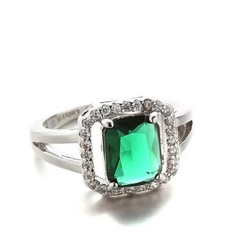 Blissful Princess Cut Ring -Size: 9, Color: Emerald Green