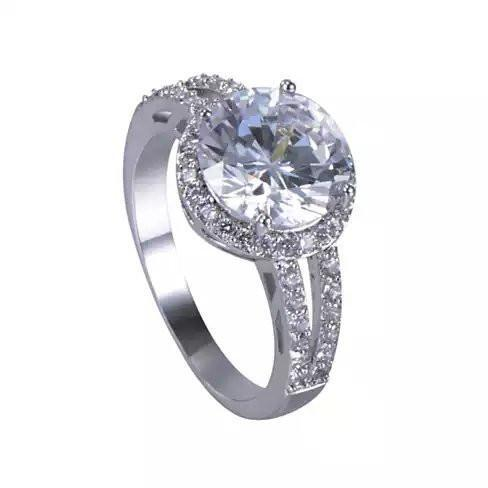 Love Struck Diamond Crystals Platinum Plated Halo Ring - Size: 7